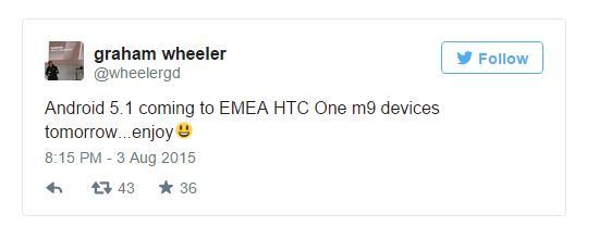 HTC One M9 уже получает обновление до Android 5.1