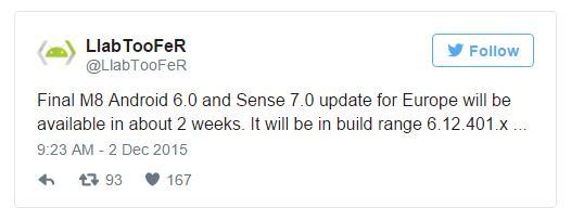 HTC One M8 получает Marshmallow в течение ближайших недель