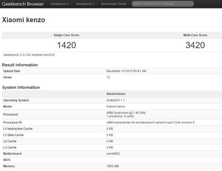 Xiaomi Redmi 3 появился в Geekbech под именем Kenzo