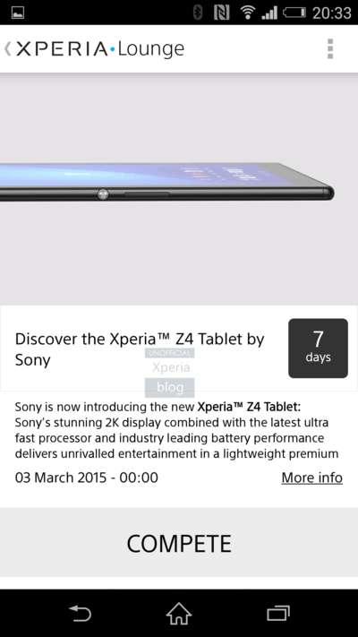 Sony случайно показали Xperia Tablet Z4