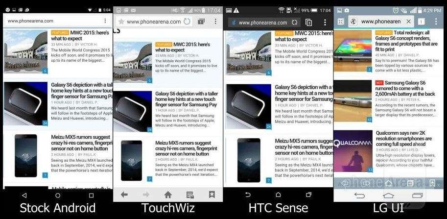 Сравнение интерфейсов Lollipop, TouchWiz, Sense, LG UI