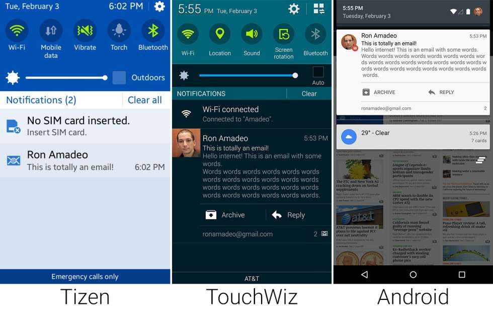 Сравнение внешнего вида Tizen, Android Lollipop, Samsung TouchWiz