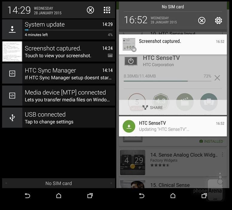 Шторка уведомлений HTC Sense 6.0 в One M8