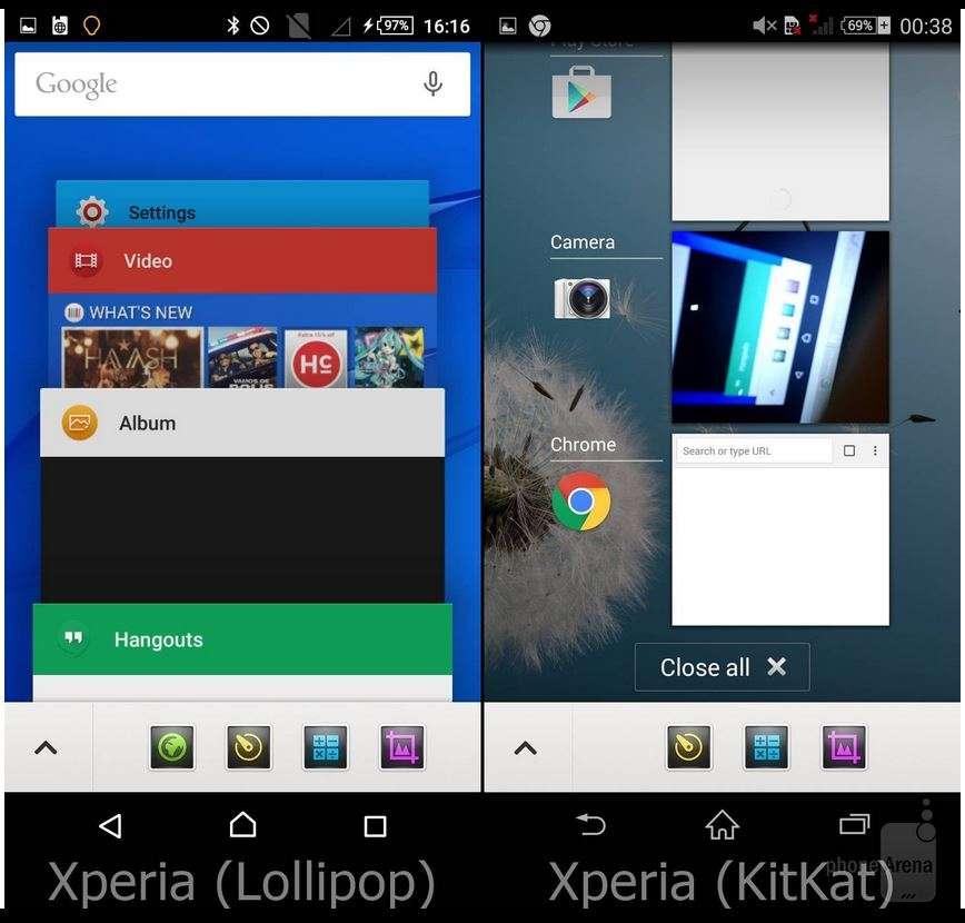 Внешность системы у смартфонов Xperia в Lollipop и KitKat