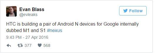 HTC готовит два Nexus: M1 и S1
