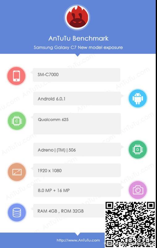Некий Galaxy C7 обнаружили в AnTuTu