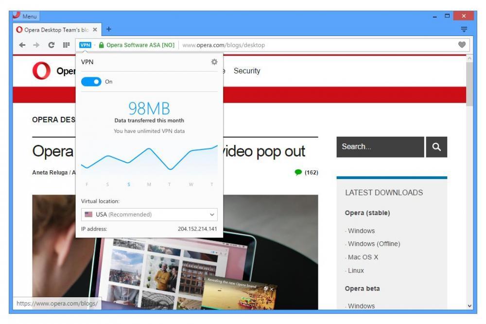 Opera теперь с бесплатным VPN