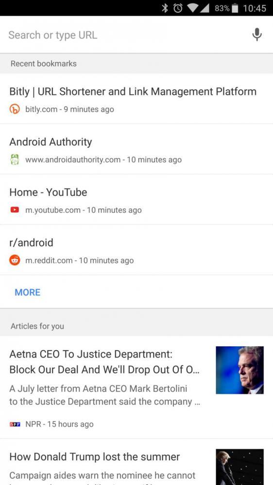 Google Now функционал появляется в Chrome