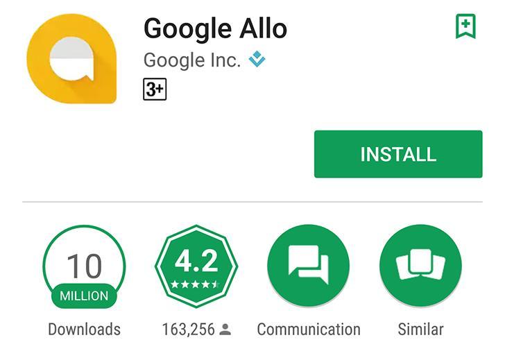 Google Allo скачали более 10 миллионов раз