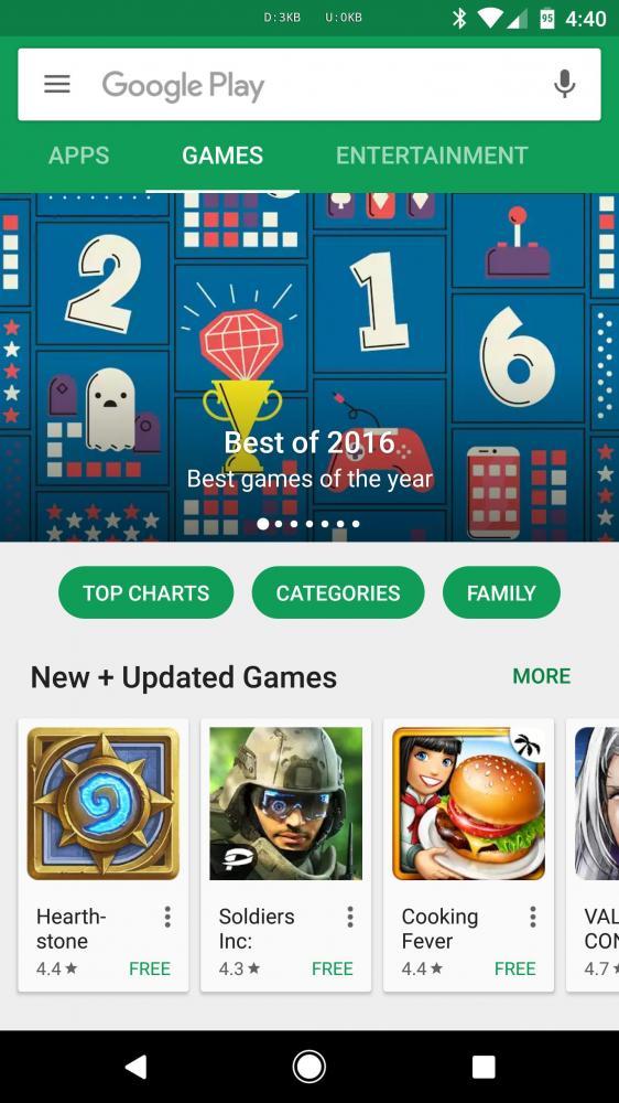 Google Play Store начинает разделять приложения и игры
