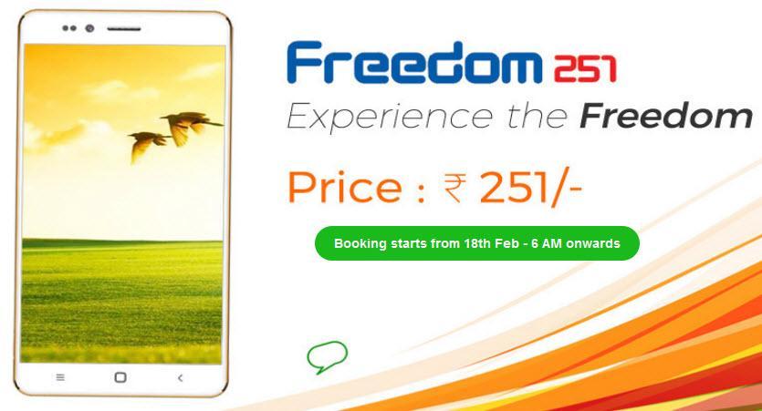 4$ смартфон Freedom 251 разозлил конкурентов