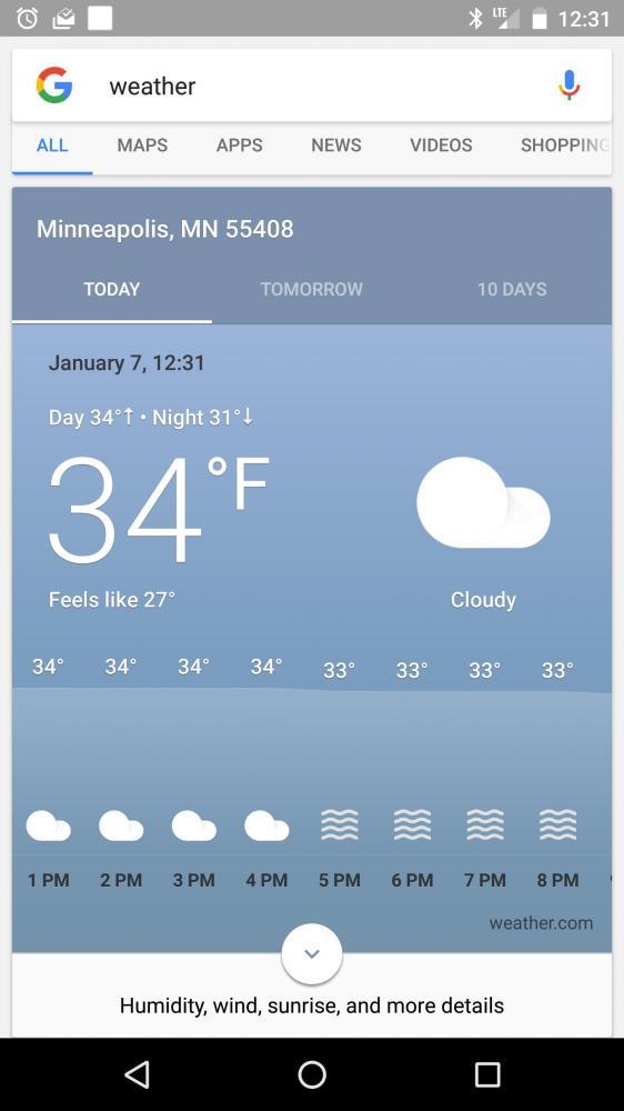 Google Now тестирует новые погодные карточки