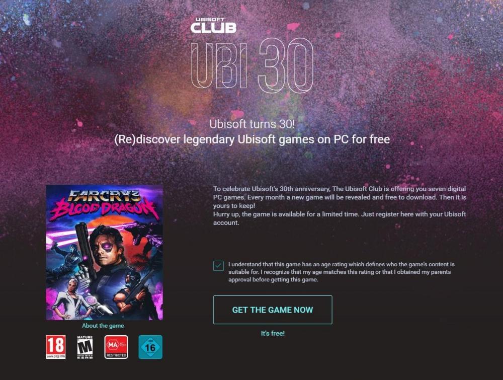 UbiSoft раздаёт игры в честь 30-летия