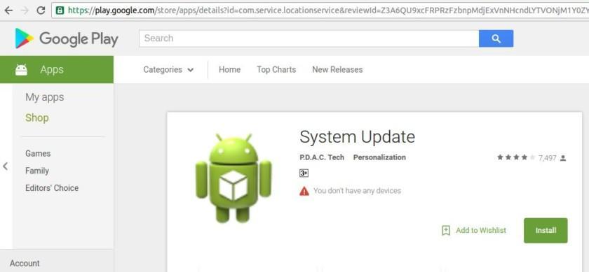 Фейковое приложение обновления системы удалили из Google Play