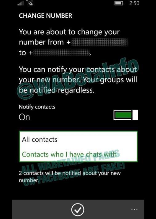 WhatsApp тестирует возможность смены номера телефона