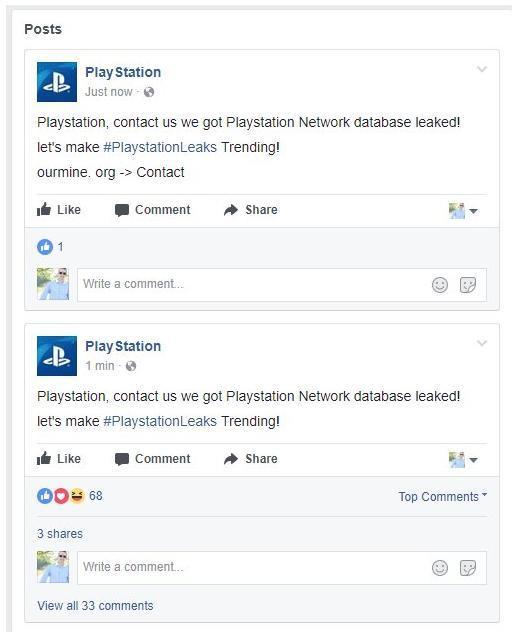Аккаунты социальных сетей PlayStation взломали