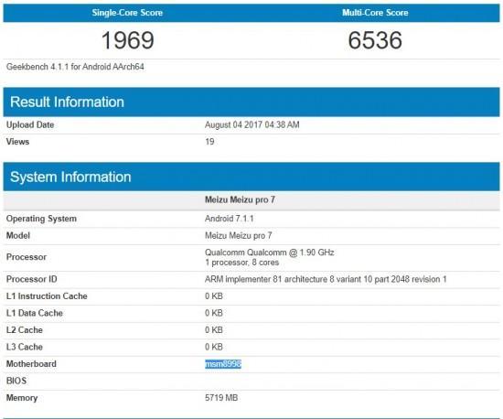 Meizu Pro 7 соSnapdragon 835 навестил бенчмарки