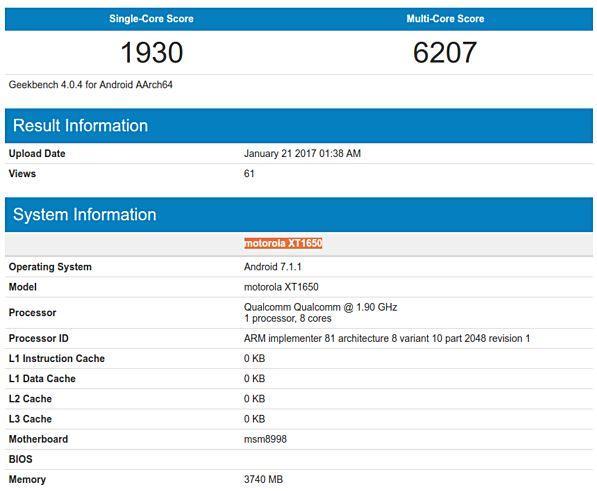 Motorola на базе Snapdragon 835 посетила Geekbench