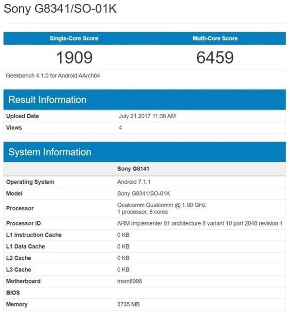 Sony Xperia XZ уже близко, данные смартфона утекли в Geekbench