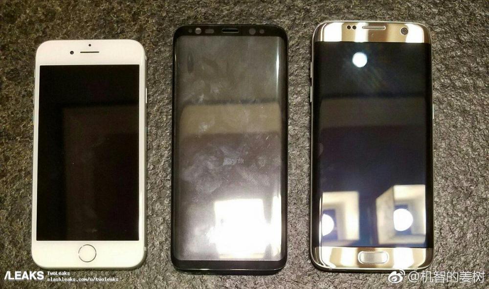 Сравнение размеров Galaxy S8 с Galaxy S7 и iPhone 7