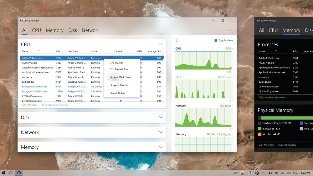 Идея оформления диспетчера ресурсов Windows 10
