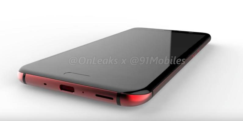 Красный HTC U11 на чётких рендерах