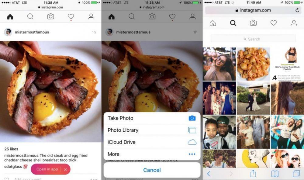 Мобильная версия Instagram теперь даёт загрузку фото и не только