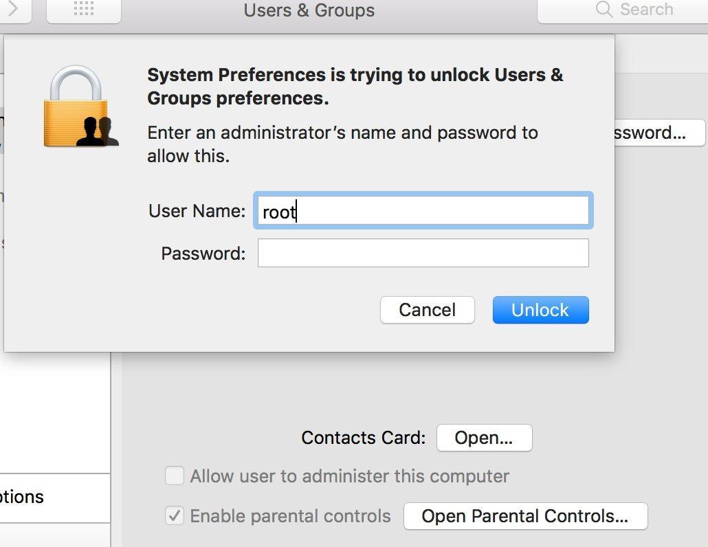 Уязвимость: заходим под root в MacOS без пароля