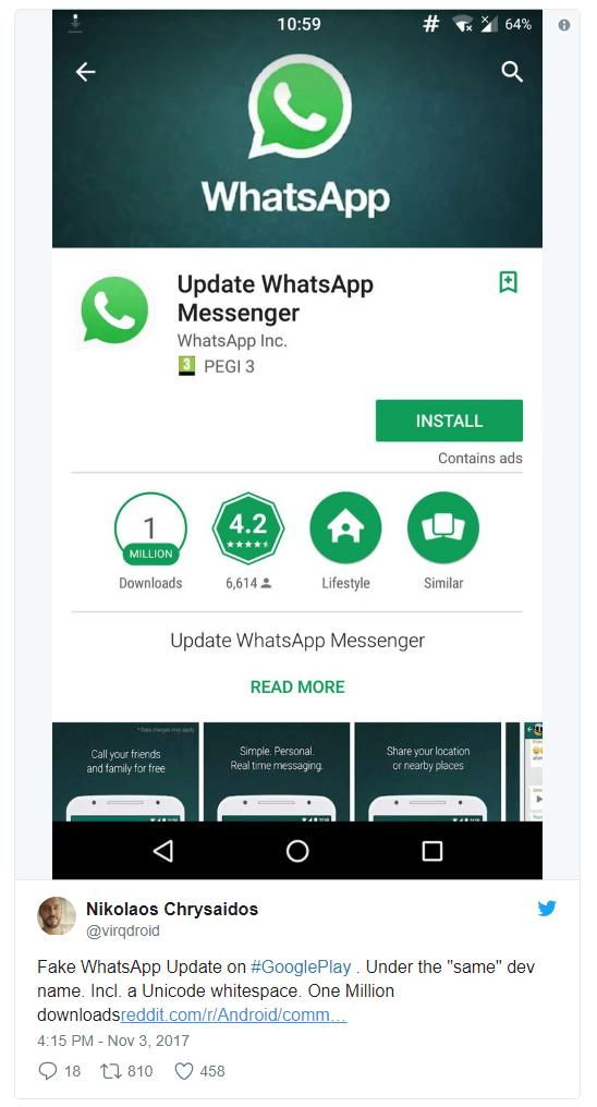 WhatsApp-подделка получил уже более миллиона скачиваний