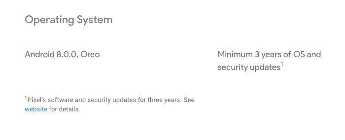 Пиксели 2 от Google будут получать обновления минимум 3 года