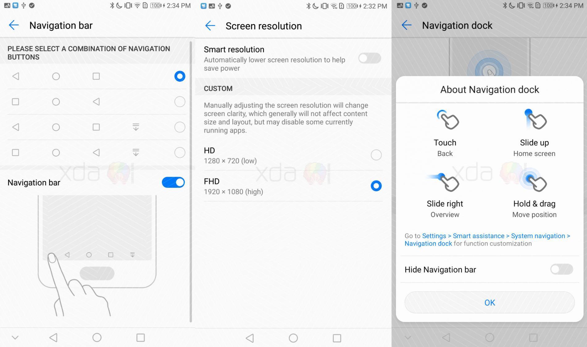 Скриншоты смартфона Huawei Mate 9 работающего на Android Oreo