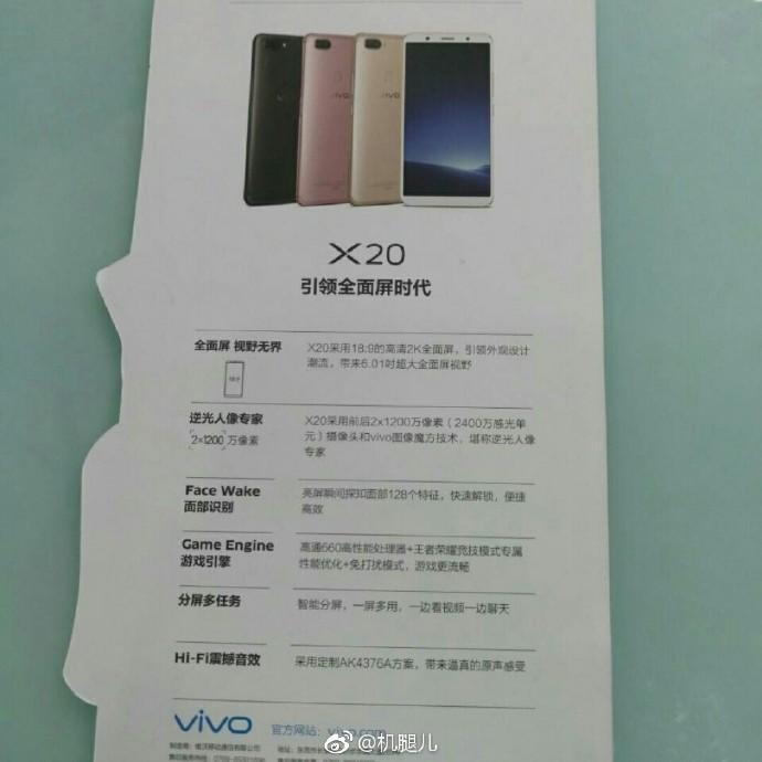 Коробка осмартфона Vivo X20 суказанием спецификаций попала всеть