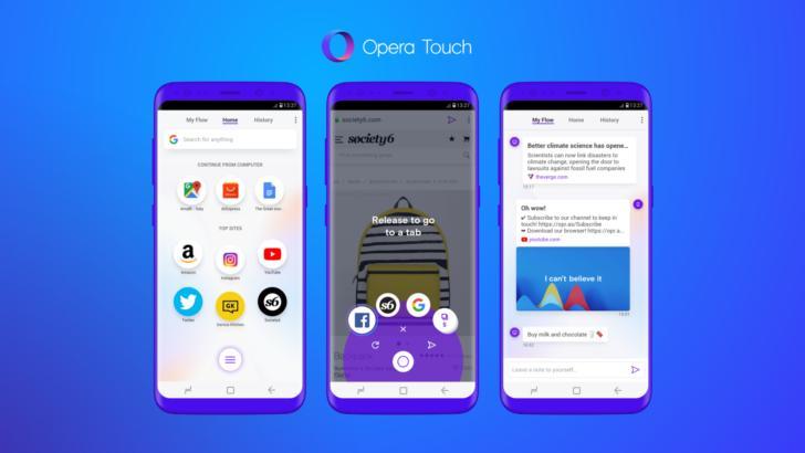 Новый браузер Opera Touch придумали для управления одной рукой