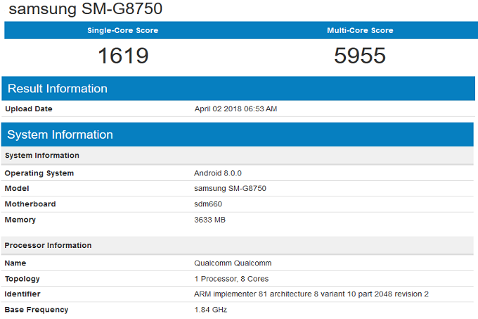 Samsung Galaxy S9 Mini в Geekbench