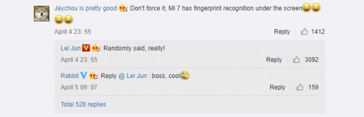 Xiaomi Mi7 получит сканер отпечатка пальца под стеклом экрана