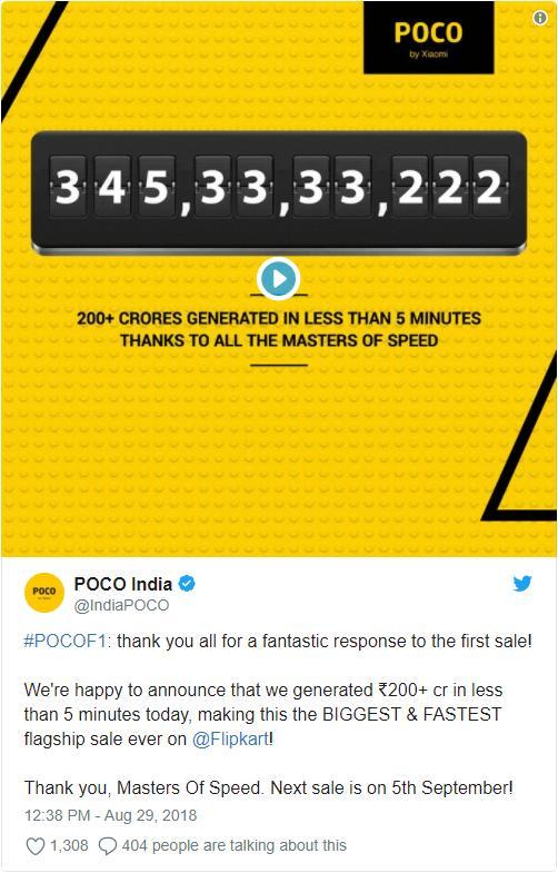 68000+ смартфонов Poco F1 Xiaomi продала за5 минут