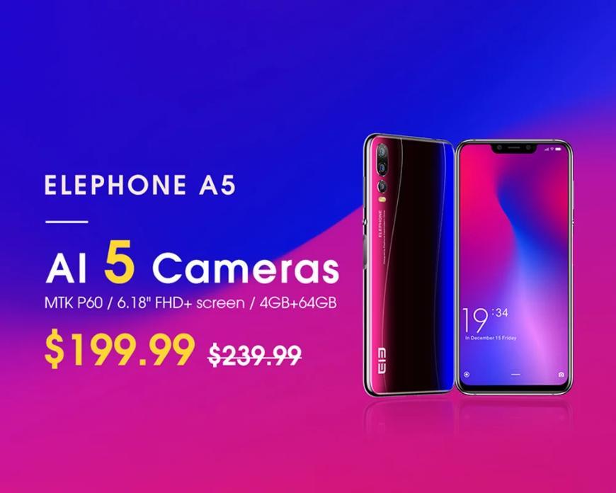 Смартфон с5 камерами Elephone A5 всего за200 долларов