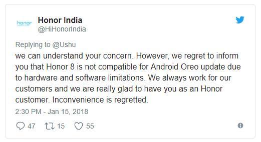 Huawei раздумала: Honor 8 всё же не получит Android Oreo