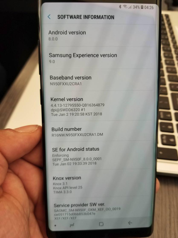 Некоторые Samsung Galaxy Note 8 получают Android Oreo
