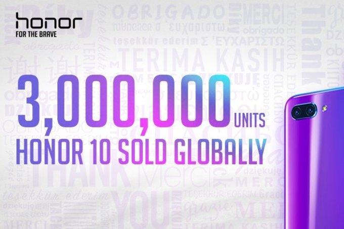 Honor 10 — крутой! 3 миллиона проданных устройств за2 месяца