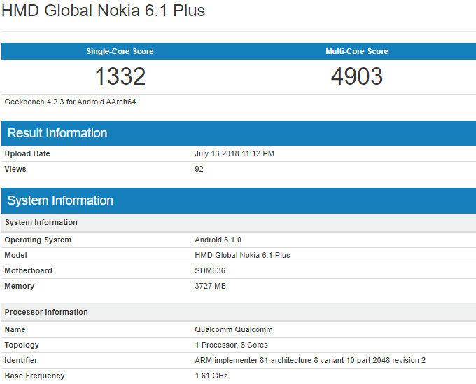 Nokia 6.1 Plus выглядит отлично, спецификации тоже хороши