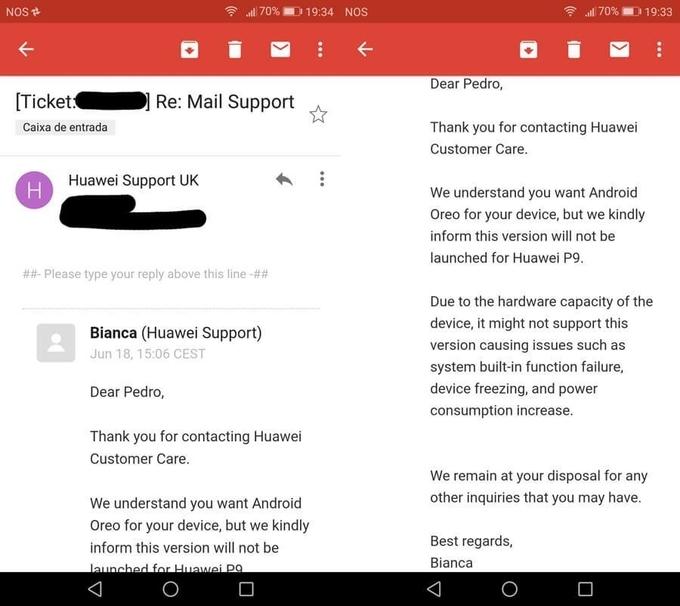 Huawei сообщила, что P9 неполучит Android Oreo — обновление отменили