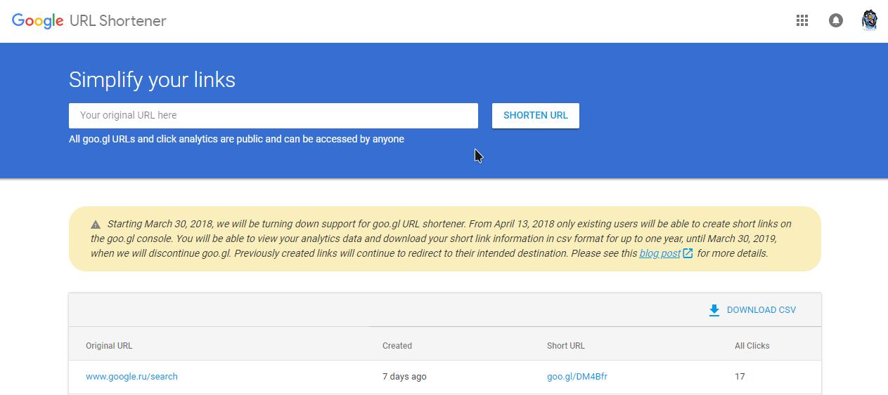 Google закрывает сервис сокращения ссылок goo.gl