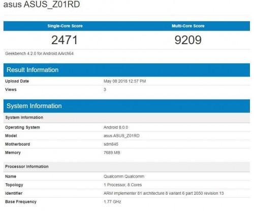 Мощнейший смартфон Asus посетил Geekbench