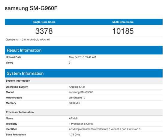Samsung Galaxy S9 сAndroid 8.1 обнаружился вбазе Geekbench