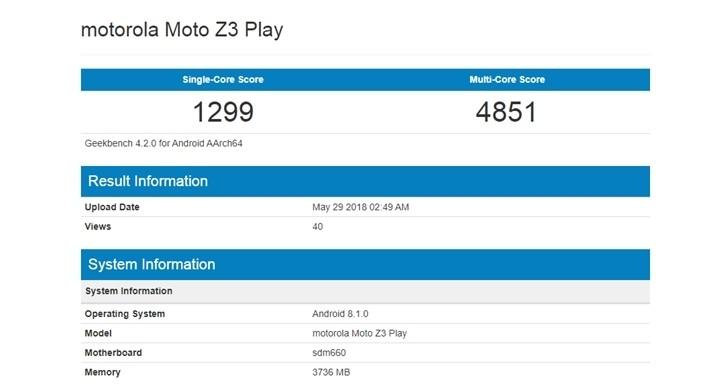 Смартфон Moto Z3 Play прошёл испытания вбенчмарках