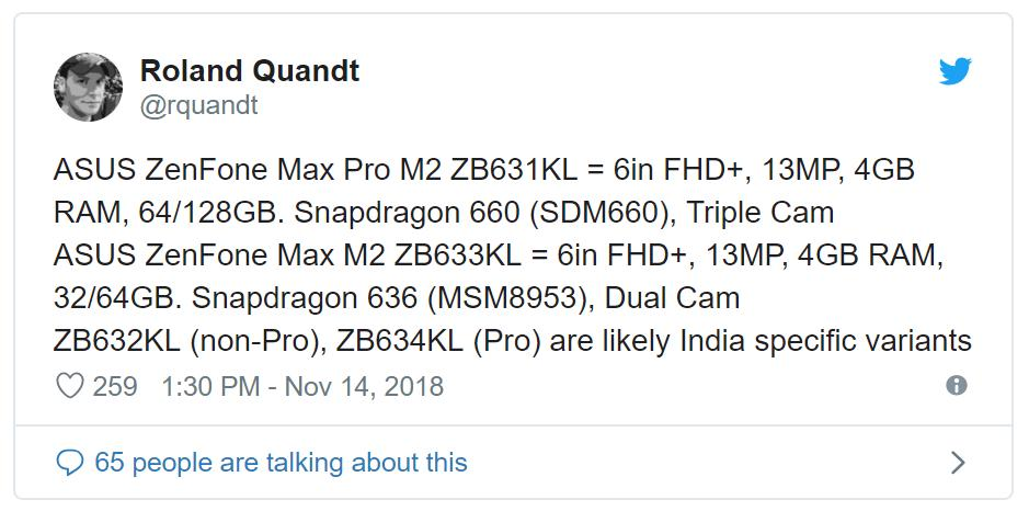 Появились спецификации Asus Zenfone Max M2 иM2 Pro