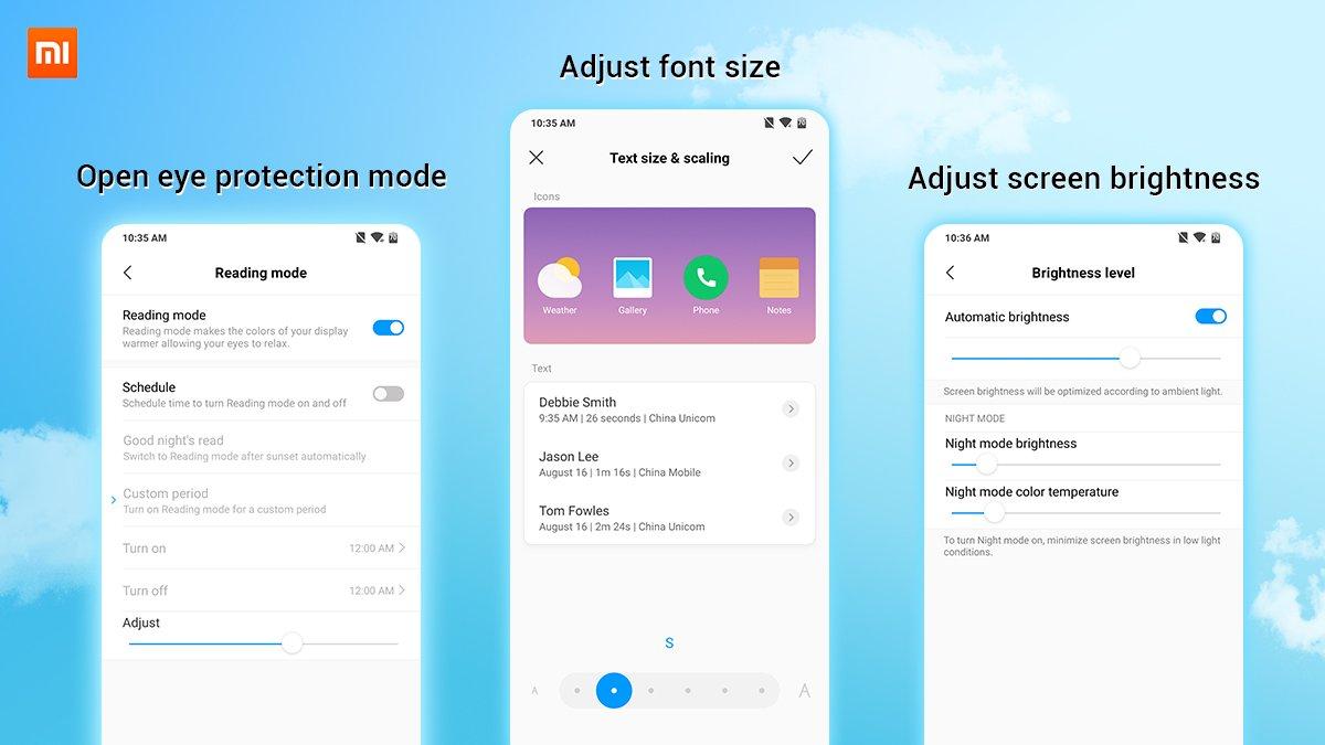 Xiaomi дала несколько советов отом, как беречь зрение сосмартфоном