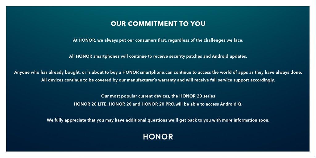 Honor официально рассказывает обобновлениях смартфонов доAndroid Q