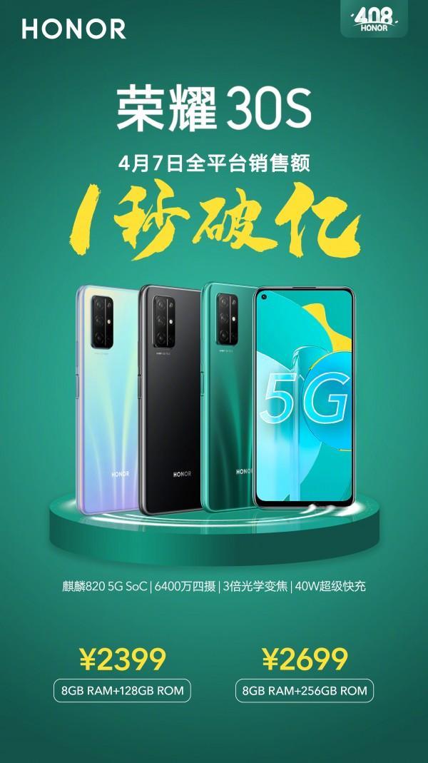 Рекорд Honor 30s: 100 миллионов юаней за1 секунду продаж
